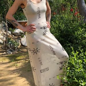 Vintage Dresses - Super sexy Sheer ribbed maxi dress size xs